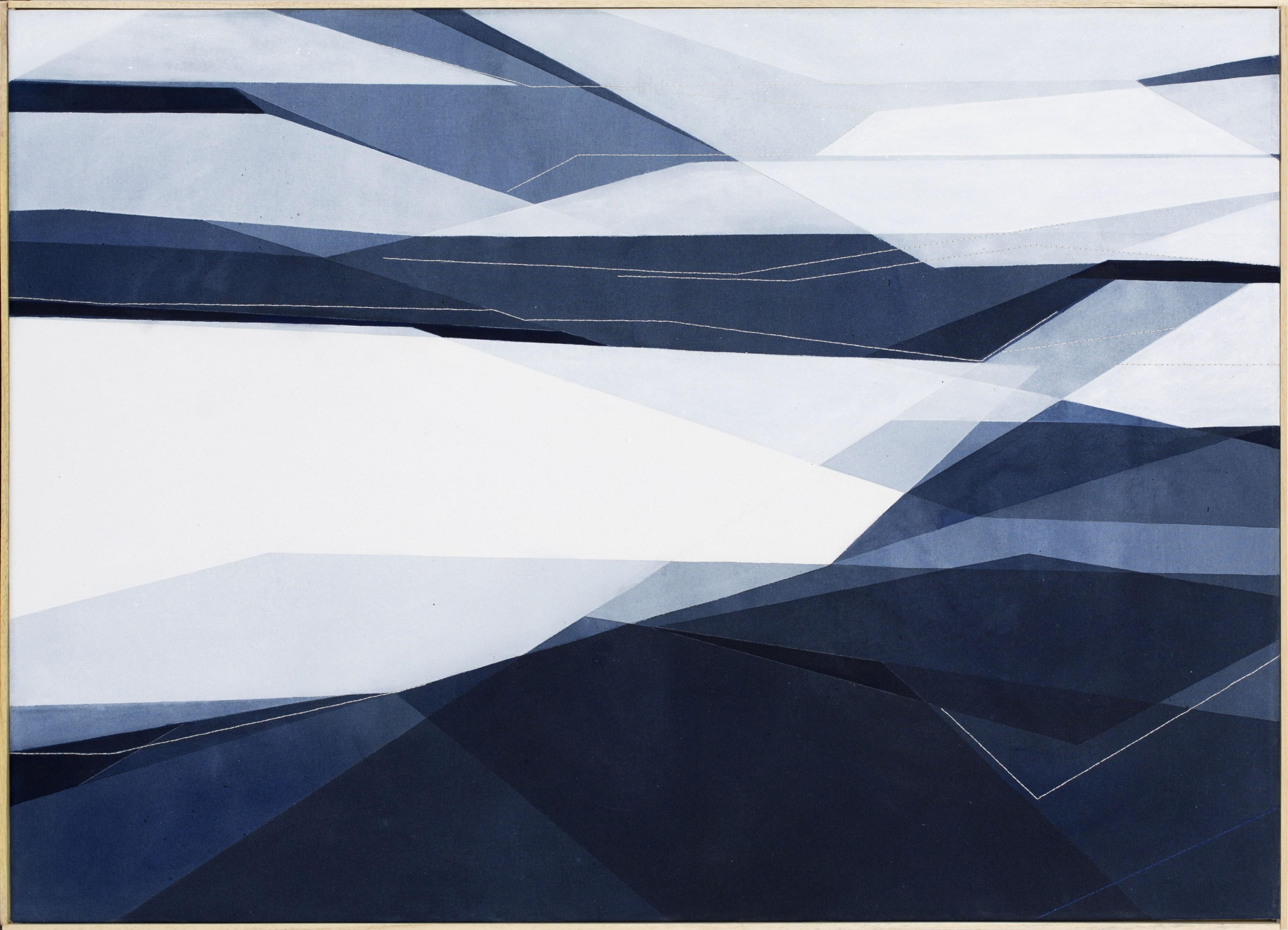 Senza Titolo, 65x90cm 2017. Acrilico acquerellato e tessiture su tela - Watercolour on acrylic and weaving on canvas. | Ph: Andrea Sartori