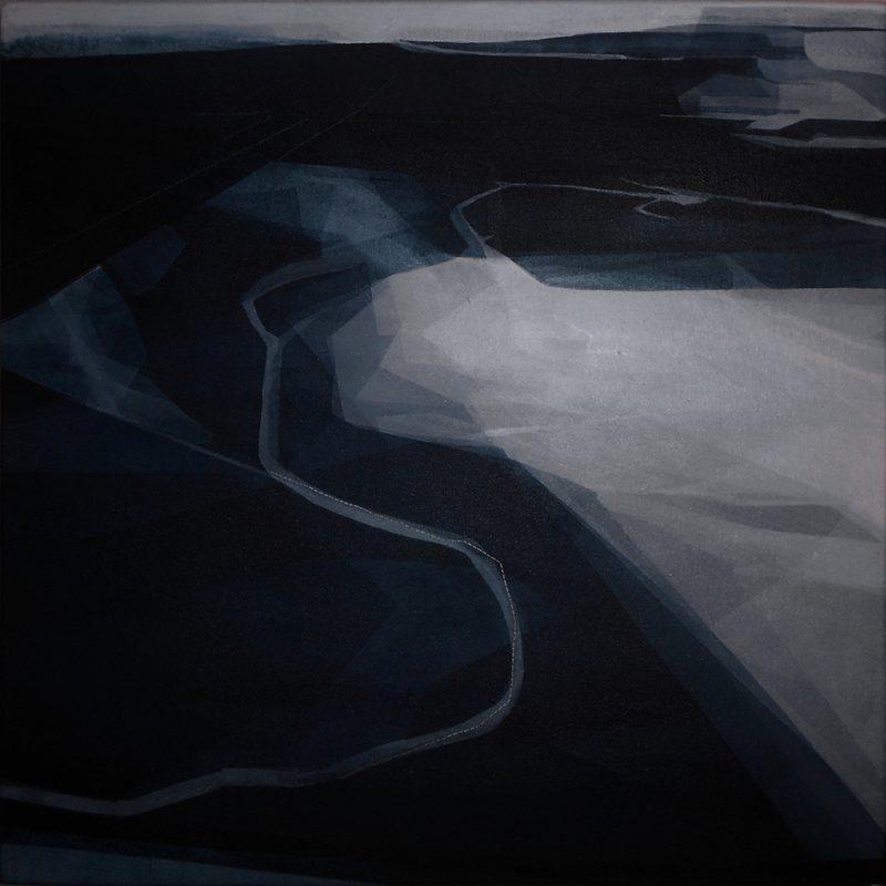 Dis-Corsi, 50x50cm 2015. Acrilico acquerellato e tessiture su tela - Watercolour on acrylic and weaving on canvas.