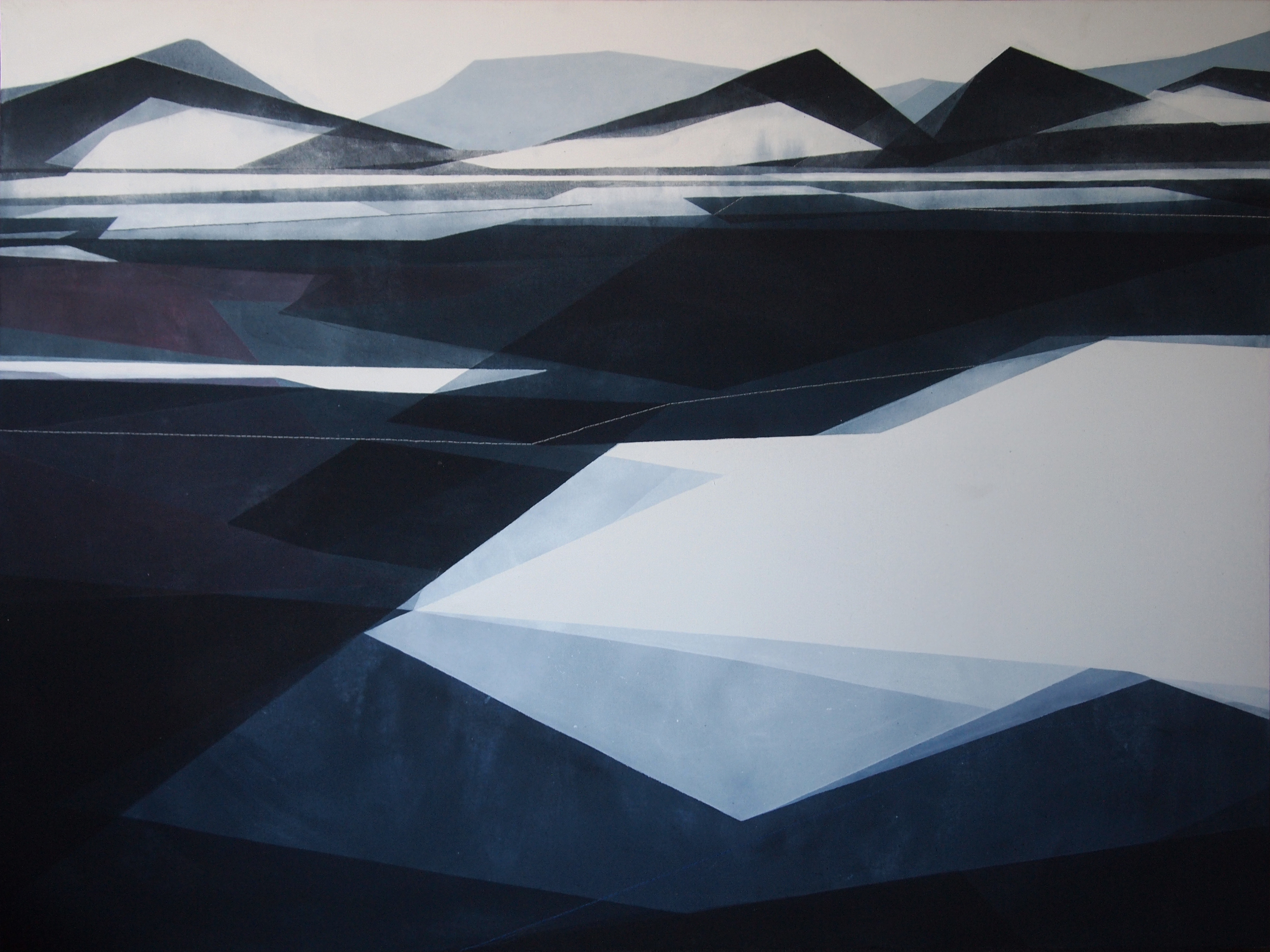 Nuove prospettive, 102x75cm 2017. Acrilico acquerellato e tessiture su tela - Watercolour on acrylic and weaving on canvas.
