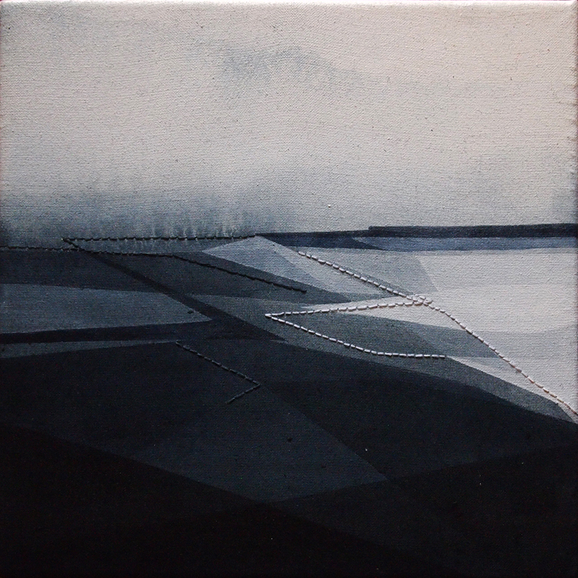Riprese #03, 20x20cm, 2016. Acrilico acquerellato e tessiture su tela - Watercolour on acrylic and weaving on canvas.