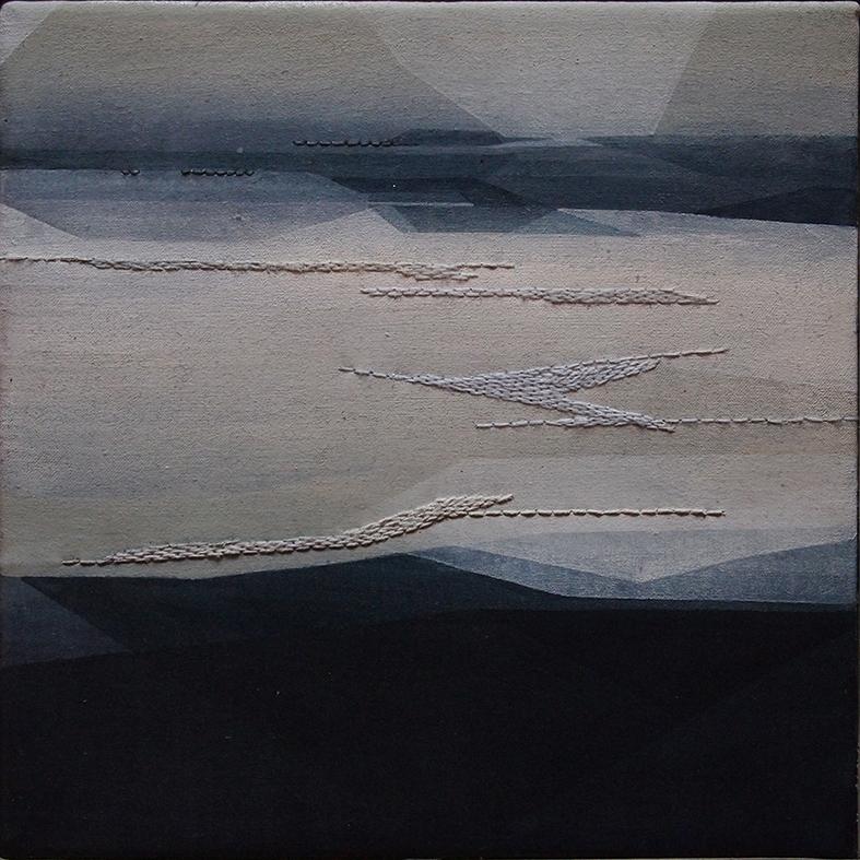 Riprese #01, 20x20cm, 2016. Acrilico acquerellato e tessiture su tela - Watercolour on acrylic and weaving on canvas.