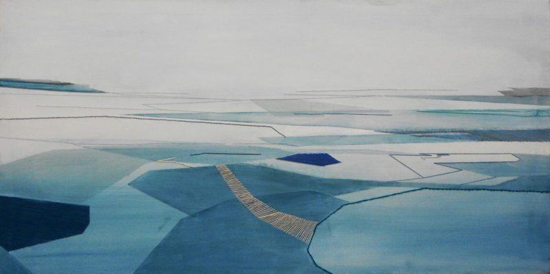 Pensieri DisTesi, 150x70cm, 2013. Olio acquerellato e tessiture su tela - Watercolour on oil and weaving on canvas.