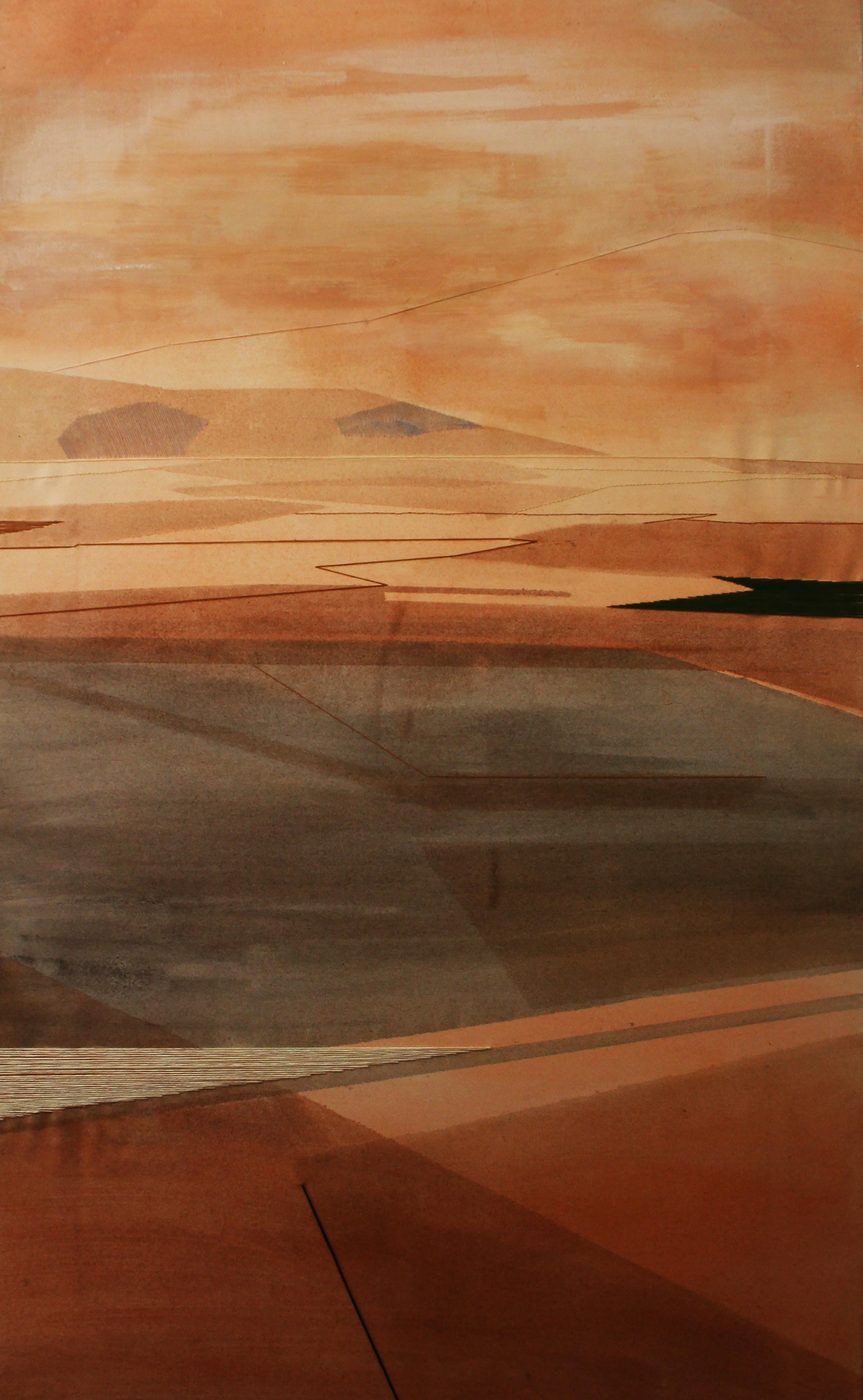 Sovrapposizioni, 70x120cm, 2012. Olio acquerellato e tessiture su tela - Watercolour on oil and weaving on canvas.