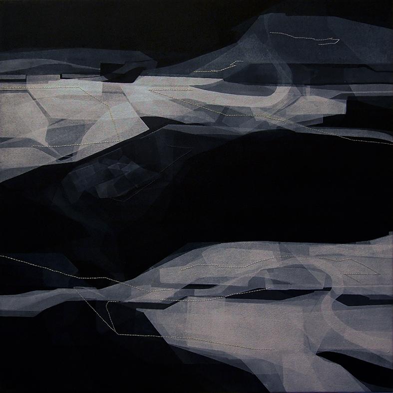 Trasposizione, 50x50cm, 2015. Acrilico acquerellato e tessiture su tela - Watercolour on acrylic and weaving on canvas.