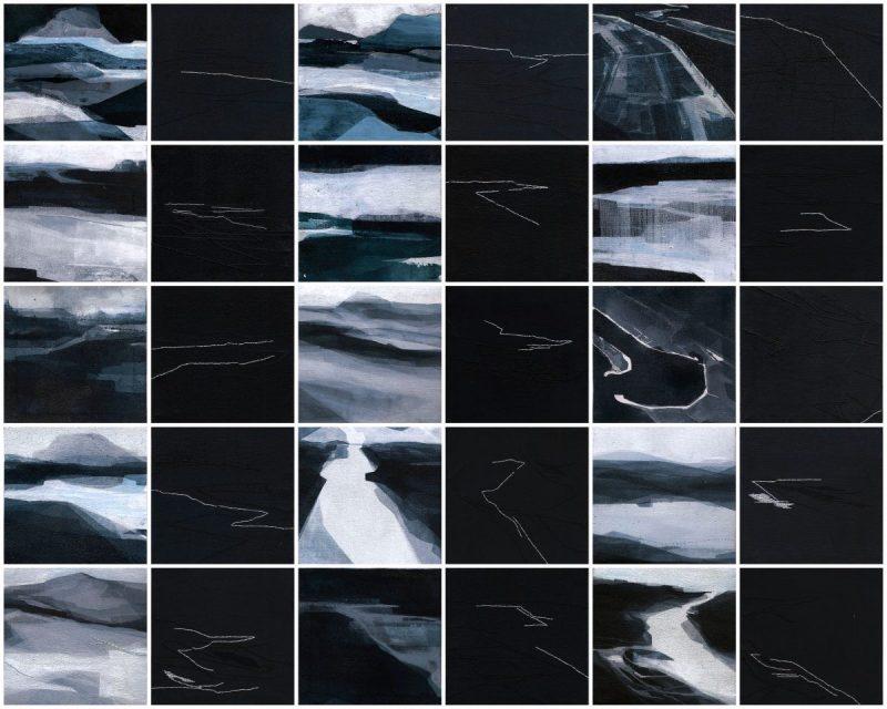 Note di viaggio (introspettivo), 11x11cm cad., 2014. Acrilico acquerellato e tessiture su tela - Watercolour on acrylic and weaving on canvas.
