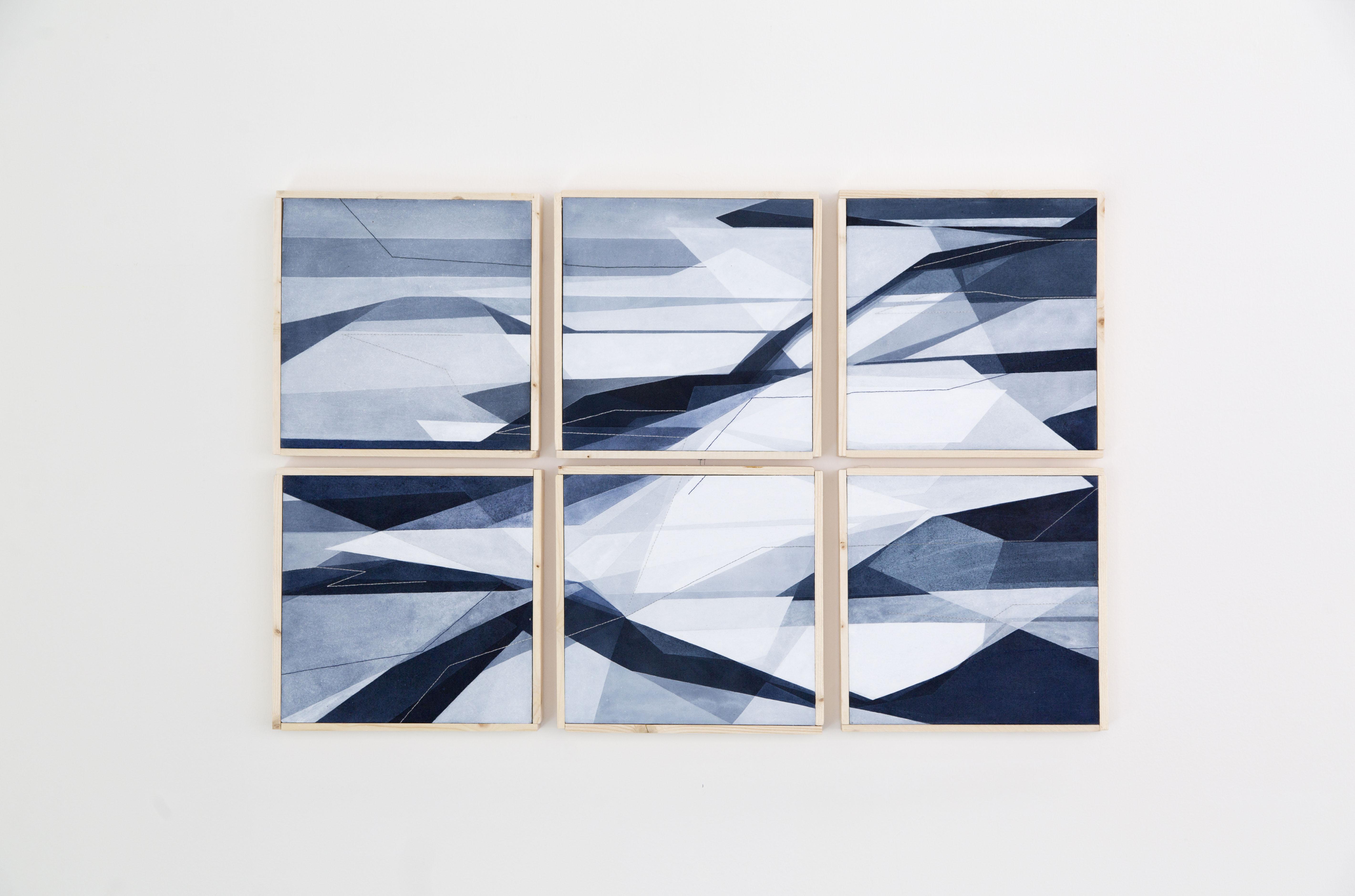 Aerea, 30x30cm Cad., 2017. Acrilico acquerellato e tessiture su tela - Watercolour on acrylic and weaving on canvas.