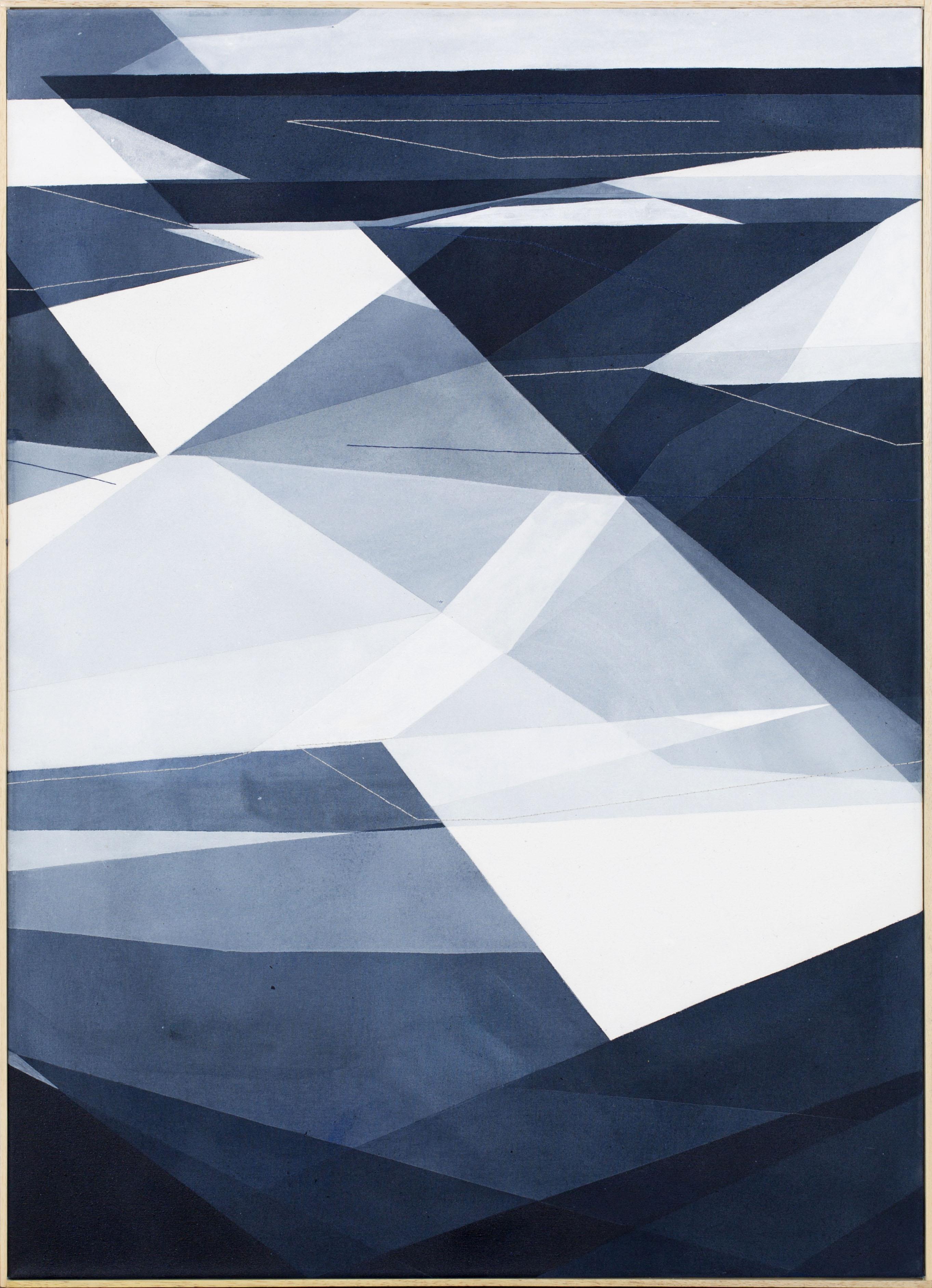 Senza titolo, 65x90cm, 2017. Acrilico acquerellato e tessiture su tela - Watercolour on acrylic and weaving on canvas.