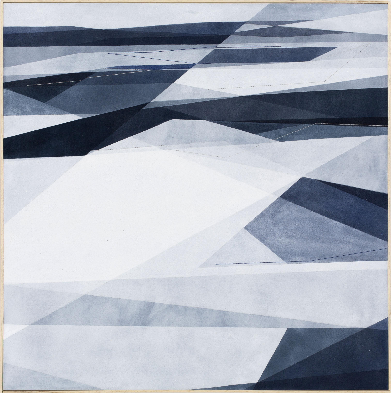 Senza Titolo, 80x80cm 2017. Acrilico acquerellato e tessiture su tela - Watercolour on acrylic and weaving on canvas. | Ph: Andrea Sartori