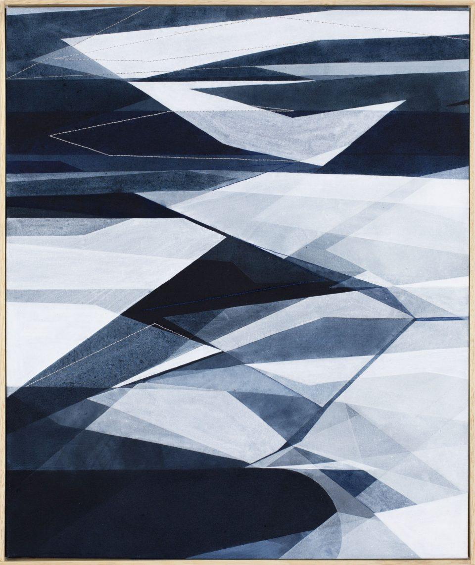 Senza Titolo, 60x50cm 2017. Acrilico acquerellato e tessiture su tela - Watercolour on acrylic and weaving on canvas. | Ph: Andrea Sartori