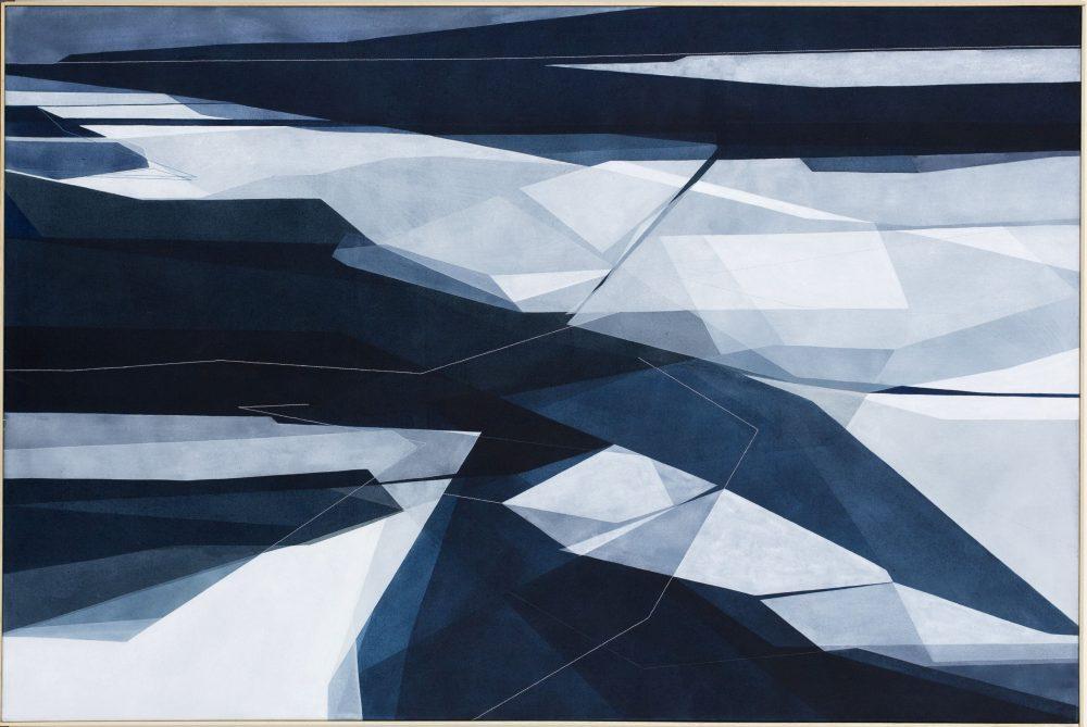 Mite, 150x100cm 2017. Acrilico acquerellato e tessiture su tela - Watercolour on acrylic and weaving on canvas. | Ph: Andrea Sartori