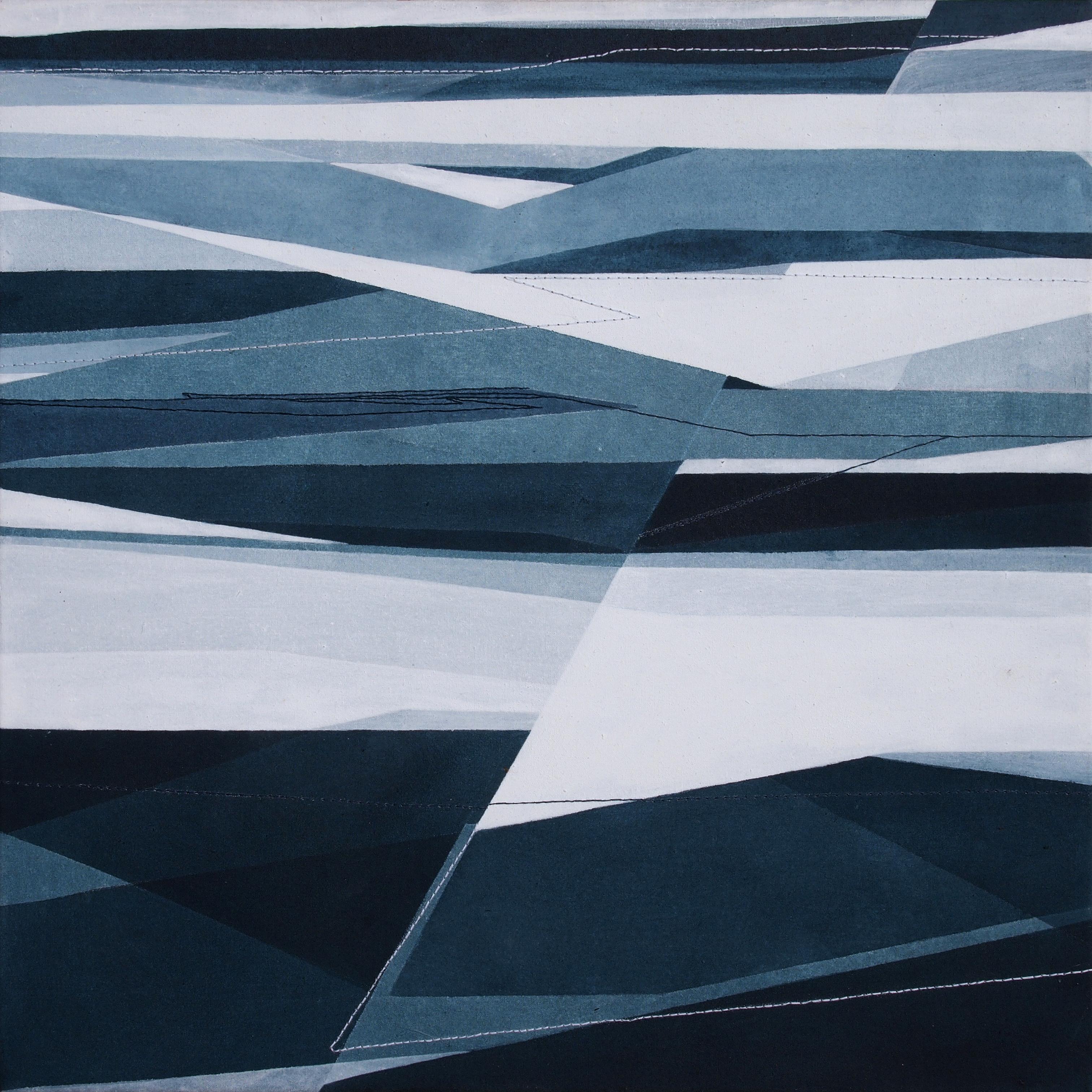 Senza Titolo, 40x40cm 2018. Acrilico acquerellato e tessiture su tela - Watercolour on acrylic and weaving on canvas. | Ph: Andrea Sartori